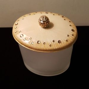 Mike & Ally enamel and glass Q-tip cotton jar NWT.